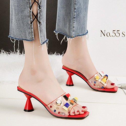Backless Stiletto Sandals JULY Transparent Dress T Pumps Kitten Open Rivets Red Shoes Women's Toe Heels Slides Color 7gq8w