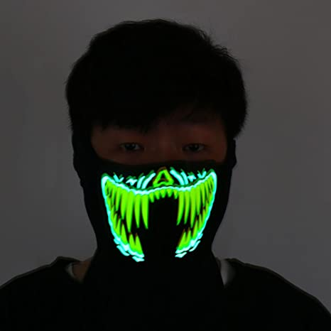 DHmart Halloween LED Glowing Mask Light Cosplay Luminous Flash Masks Party Prop Masquerade Masks Carnaval Christmas