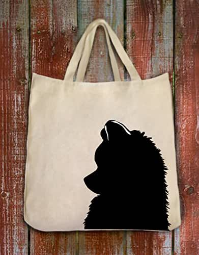 Pomeranian Dog Silhouette Portrait Design Extra Large Reusable Cotton Twill Grocery Shopping Tote Bag