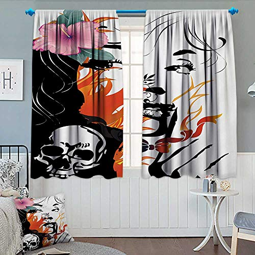 Anhounine Tattoo,Blackout Curtain,Attractive Women with Pink Flower in her Hair Near a Skull Design,Blackout Draperies for Bedroom,Orange Pink Black and White,W84 x L72 inch by Anhounine