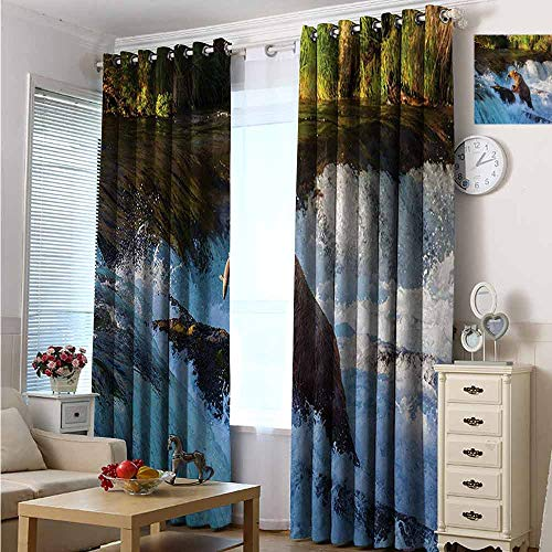 hengshu Waterfall Blackout Curtains - Gasket Insulation Image of Large Bear by a Rock in Alaska Waterfall Wildlife in Earth Art Print Blackout Curtains for The Living Room W84 x L96 Inch Multicolor
