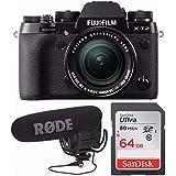 Fujifilm X-T2 Mirrorless Camera w/18-55mm Lens + Rode VideoMic Pro VMP w/ Rycote Lyre Shockmount + 64GB Memory