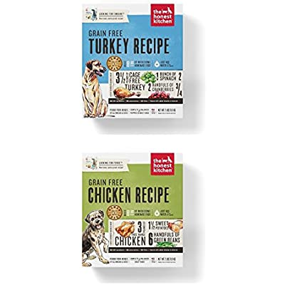 Honest Kitchen Grain Free Dehydrated Dog Food 2 Pack Bundle; Turkey 2 lb. Box Chicken 2 Lb. Box. (4 Lbs.Total)