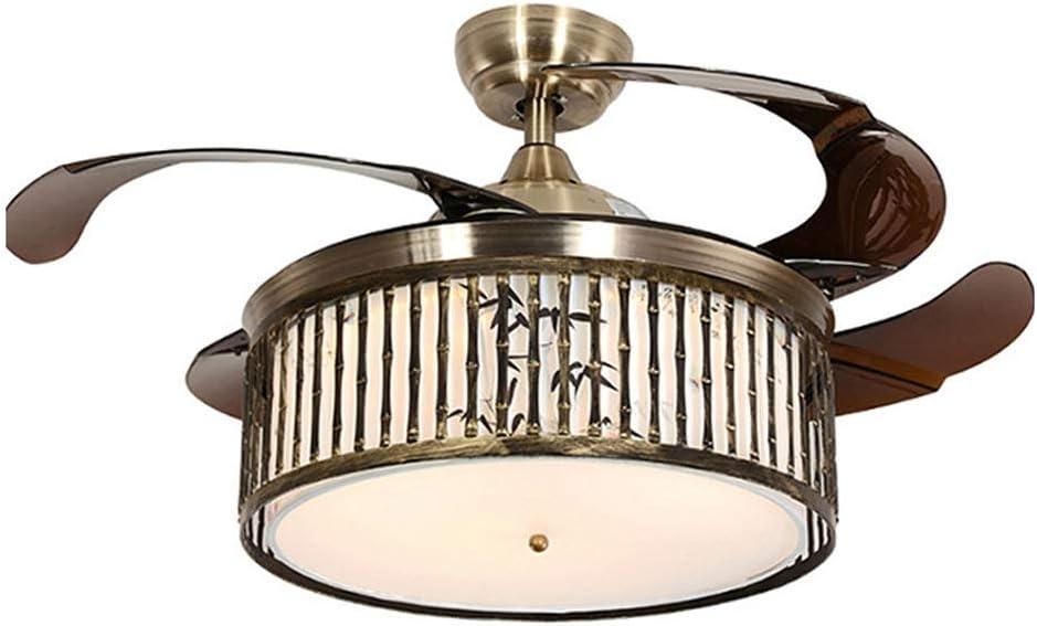 QIULAO Luz for Ventilador de Techo, Ventilador de Techo Antiguo Chino de 42 pulg. con luz / 4 aspas retráctiles, Control Remoto, Velocidad de Viento Ajustable, lámpara de Ventilador/lámpara de ahorr