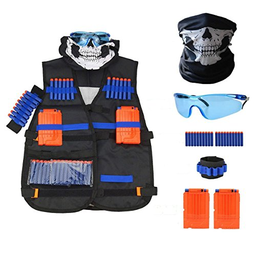 FATPET Tactical Vest Kit for Nerf Guns N-Strike Elite Series with 20 Pcs Refill Darts, 2 Reload Clips, Hand Wrist Band, Face Tube Mask and Protective - Goggles Nerd