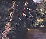 Forest River Nature Extra Wide Wallpaper Border Retro Design, Roll 15' x 12''