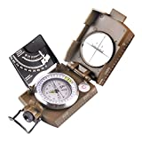 Landove Professional Compass Metal Pocket Size Waterproof 50mm Dial Compass Multifunction Military Army Sighting Compass with Inclinometer for Camping Hiking