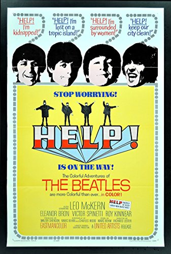 Help 1SH Original Tri Fold Movie Poster Beatles '65
