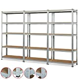 Industrial Steel Triple Shelving Unit 5 Tier Boltless Snap-in Type Rivet Rack Shelf Bench | Garage Shop Kitchen Office Warehouse Storage