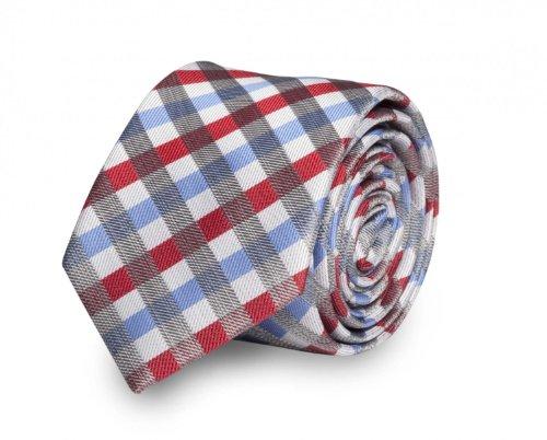 Étroit Cravate de Fabio Farini à rayures en rouge bleu gris