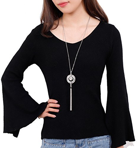 NVENF Long Tassel Pendant Necklace Trendy Spring Sweater Chain Necklace Jewelry for Women (Silver-tone)