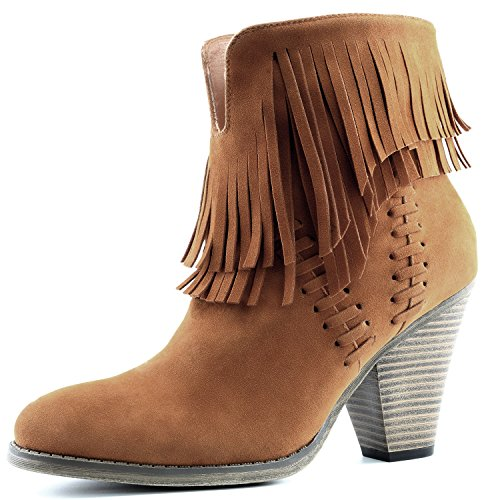 DailyShoes Women's Western Cowboy Double Fringe High Top Ankle High Heel Boot, 8.5 Tan
