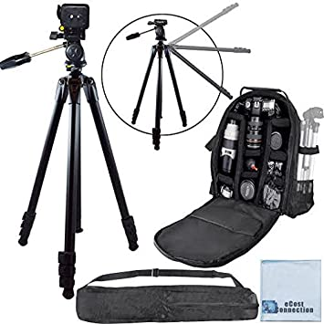 NEX-FS100U NEX-VG20H NEX-FS700UK BP SLR Backpack for Sony NEX-EA50UH NEX-VG20 NEX-FS700R NEX-VG30 NEX-VG10 NEX-FS700U NEX-VG900 /& More.. + Microfiber Cloth 80-Inch Elite Series Professional Heavy Duty Camcorder Tripod