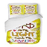 SanChic Duvet Cover Set Christian Bible Scripture Doodle Christianity Encouragement Faith God Decorative Bedding Set 2 Pillow Shams King Size