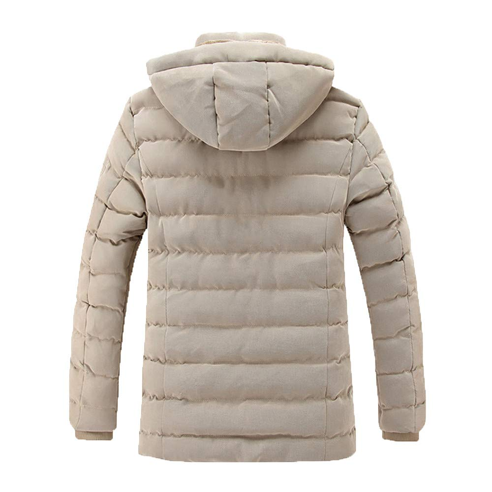 Autumn Winter Pure Color Pocket Open a hat Zipper Hooded Jacket Top Coat YKARITIANNA Mens Solid Quilted Coats