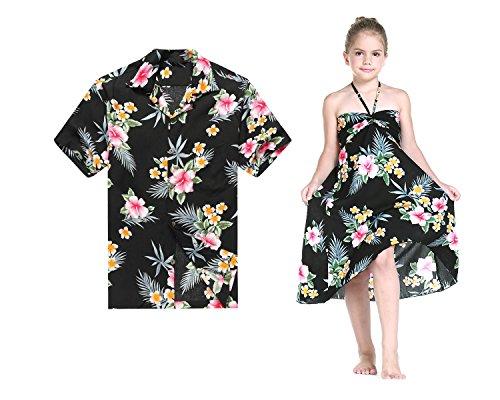 Matching Father Daughter Hawaiian Luau Cruise Outfit Shirt Dress Hibiscus Black Men M Girl 8]()