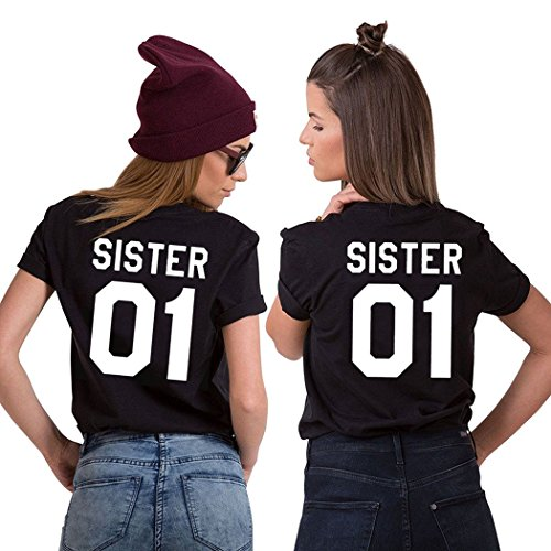 JINT Sister 01 T-Shirt Best Friends 2 Pieces For Two Girls Matching Summer Ladies Birthday Gift by