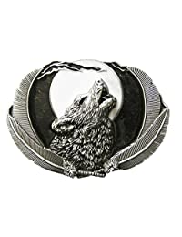 Classic New Vintage Western Wolf Moon Oval Belt Buckle also Stock in US