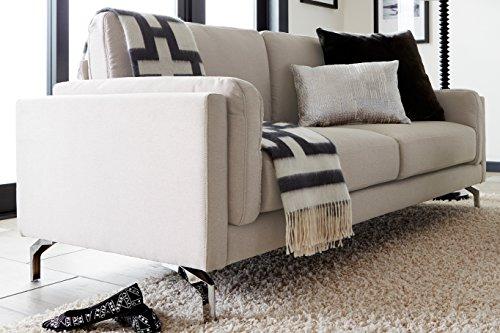 Elle Decor Remi Sofa, Fabric, Cream (Apartment Sofa)