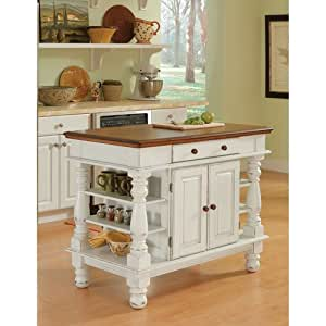 Home Styles 5094 94 Americana Kitchen Island Antique White Finish Kitchen Dining