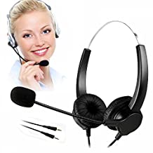 TelPal Corded Hands-free Call Center Noise Cancelling Corded Binaural Headset Headphone with Mic Mircrophone for Desk Telephone - Cord with Dual 3.5mm Audio Plug, Telephone Counseling Services