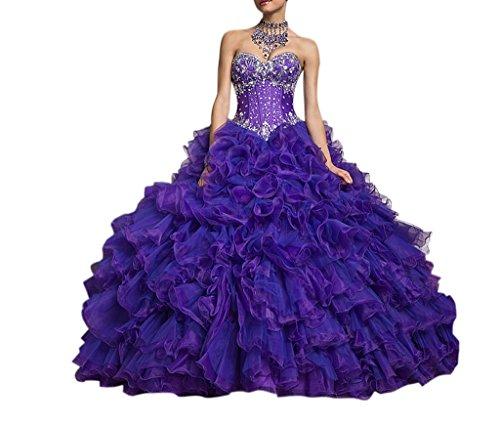 Dearta Women's Ball Gown Sweetheart Organza Quinceanera Dresses Purple US 10