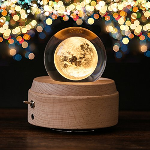 Apollo Box Night Light,Luminous Rotating Crystal Ball Music Box with Projection Light and Wood Base, Great Gift for Father's Day, Christmas/Birthday/Valentine's Day, Romantic (Rotating Music Box)