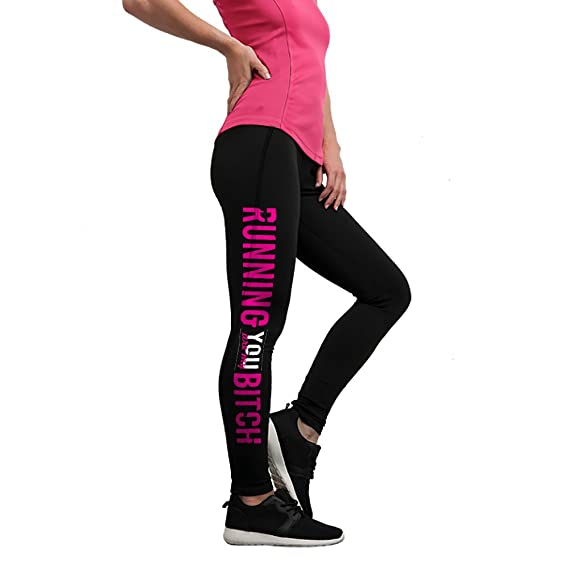 e7073928775328 Womens Gym Running Leggings Yoga Pants – Black with Printed PINK Quote RUN  BITCH RUN, Thick Stretch Compression Fit Full Length Ladies Sports Novelty  Gift ...