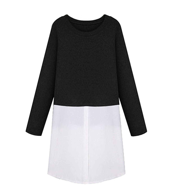 SaiDeng Women's Plus Size Splice Long Sleeve Casual Mid Length Dress