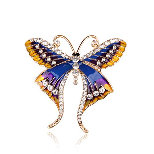 amel Crystal Rhinestone Brooch Pins Fashion Butterfly Women Party Brooch Jewely ()