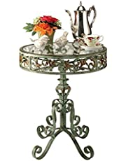 Design Toscano Crystal Palace Conservatory Side Table, 58.5 cm, Metalware and Glass, Bronze Verdigris Finish
