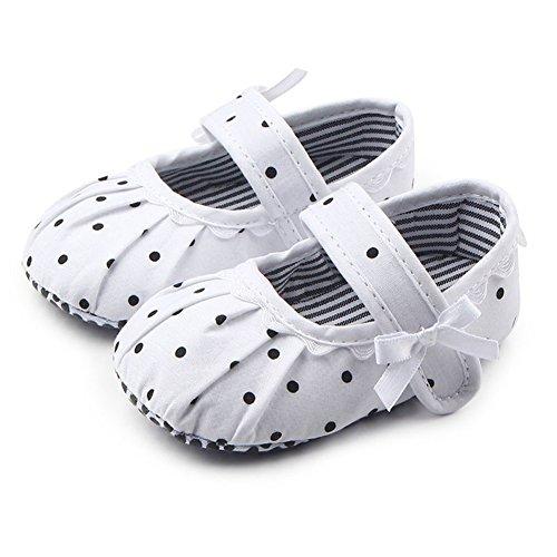 Zapatos de bebé Zapatos para niña Diseño princesa Suela antideslizante Tamaño para 0-12 meses Luerme Blanco