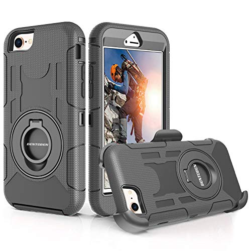 BENTOBEN iPhone 8 Case,iPhone 7 Case, Heavy Duty Full Body Rugged Rotating Kickstand Swivel Ring Belt Clip Holster Hybrid 4 Layer Hard PC Soft Silicone Shockproof Protective Case for iPhone 8/7,Black
