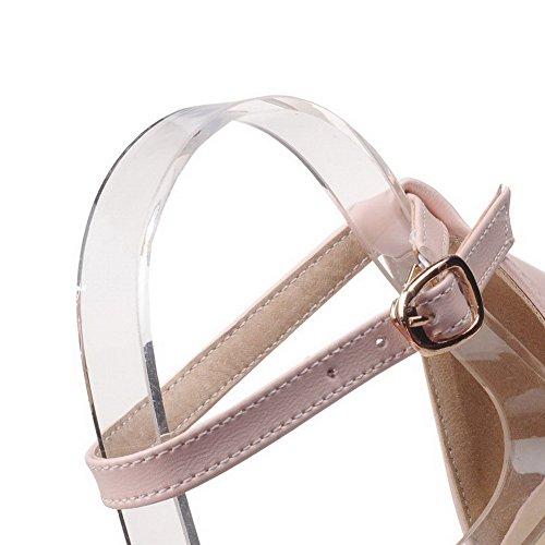Allhqfashion Kvinners Mykt Materiale Spenne Åpen Tå Lave Hæler Faste Kiler-sandaler Med Knute Rosa