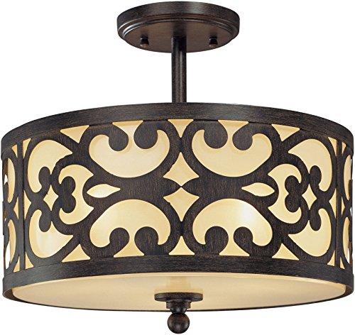 Iron Oxide Finish 3 Bulbs - Minka Lavery Semi Flush Mount Ceiling Light 1498-357, Nanti Round Glass Lighting Fixture, 3 Light, 180 Watts, Iron
