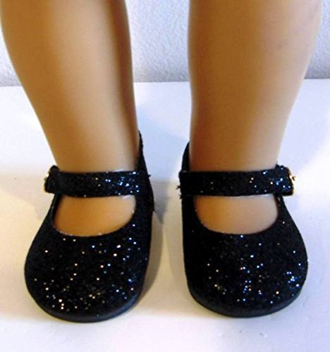- Black Doll Shoes for American Girl and 18 Inch Dolls Glitter Sparkle Shoes
