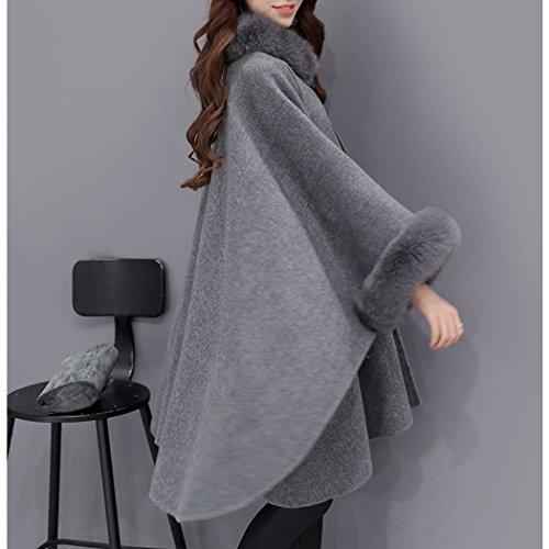 Automne Slim Cape De Coton Hiver En Laine Manches Grande Hanmax Longue Manteau Taille Gris Femme HwYvv4