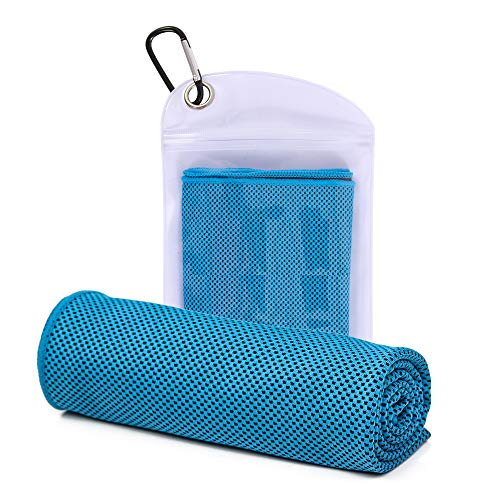 Cooling Towel for Yoga, Sports, Workout, Fitness, Gym, Pilates, Travel, Camping & More, Outdoor Sports Towel for Instant Cooling Relief (Blue)