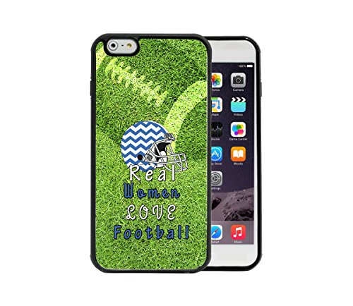 - Blue/White Real Women Love Football Chevron Pattern Helmet Green Grass Football Overlay (DL00) Apple iPhone 6 Plus, 5.5 Rubber TPU Silicone Phone Case