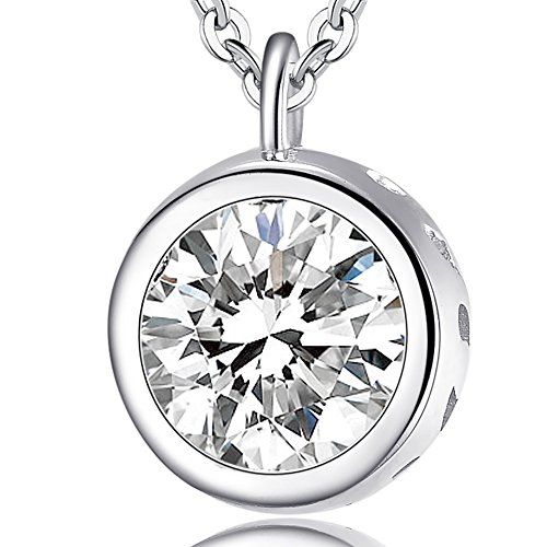 (Ashley Jeweller Solid Sterling Silver & Bezel set 2.0ct Solitaire Cubic Zirconia CZ 18