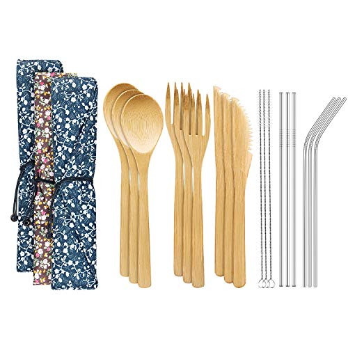 Bamboo Cutlery Set with 8.5 inch Stainless Steel Metal Straw and Cleaner,7.8 inch Bamboo Utensils for Travel and Camping,Portable with Case To Go (Set3) ()