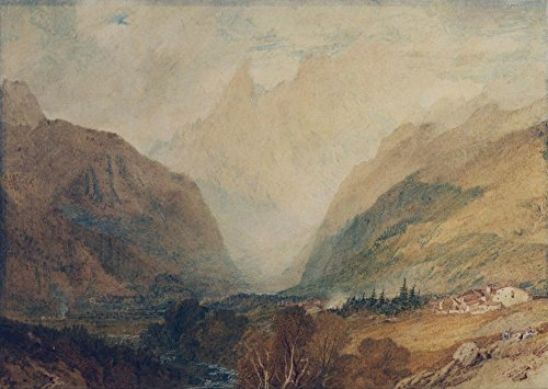 (The Museum Outlet - Mont Blanc, from above Courmayeur, 1810, Stretched Canvas Gallery Wrapped. 11.7x16.5