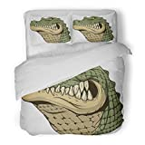 SanChic Duvet Cover Set Green Africa Ferocious Alligator Head on White Yellow Aggression Decorative Bedding Set with Pillow Sham Twin Size
