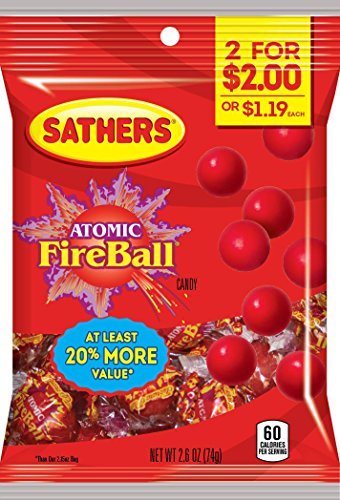 Sathers Atomic Fireballs Hard Candy, Cinnamon, 2.6 Ounce (Pack of (Red Hot Cinnamon Discs)