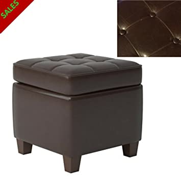 Admirable Amazon Com Tsr Faux Leather Storage Ottoman Square Wooden Cjindustries Chair Design For Home Cjindustriesco