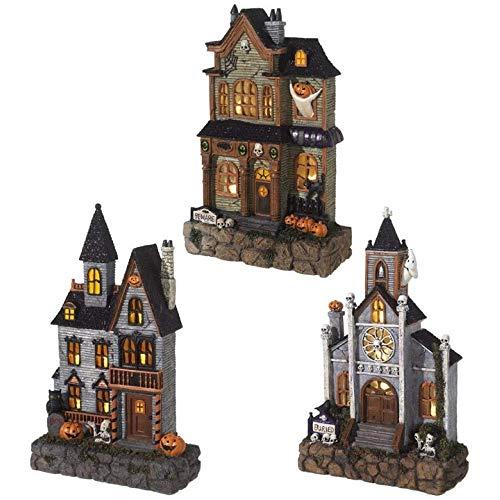 RAZ Imports Lighted Haunted House Slim-line Village Halloween Decor (Mansion) ()
