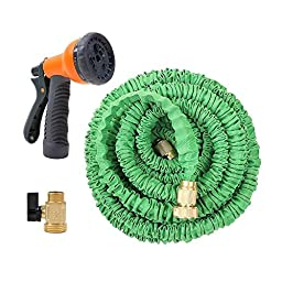 Ohuhu174; 50 Feet Super Strong Garden Hose / Expandable Hose, 50 ft Expandable Garden Hose with All Brass Connector & Free 8-pattern Spray Nozzle, Green