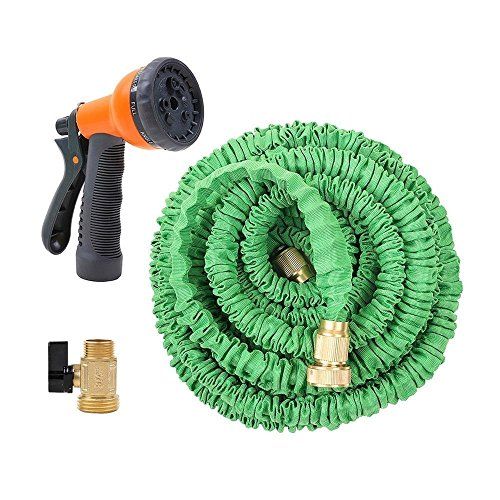 Ohuhu 75 Feet Expandable Garden Hose with Brass Connector and Spray Nozzle