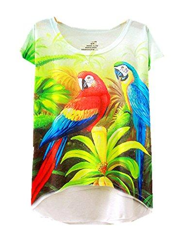 Yichun Femmes Filles Tees T-shirt Mince Loisirs Hauts Cami Tunique À La Mode Casual Wear Imprimé Perroquet Chemise Mode 11 #