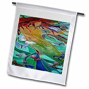 Taiche - Acrylic Painting - Mermaids - Mermaid and Butterflies - elusive, untamed, art nouveau, femininity, mythology, butterflies, mermaid - 18 x 27 inch Garden Flag (fl_46759_2)